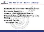 the new world private industry