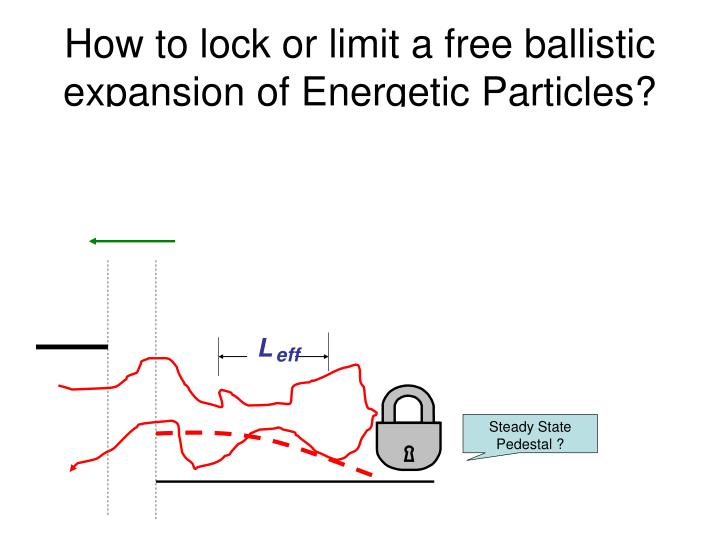 how to lock or limit a free ballistic expansion of energetic particles