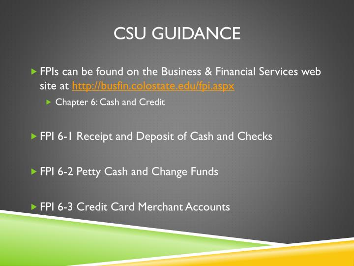 CSU Guidance