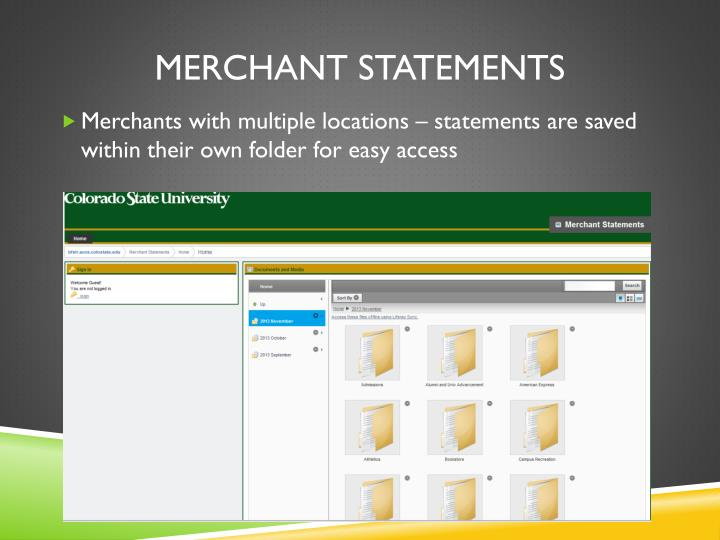 Merchant statements