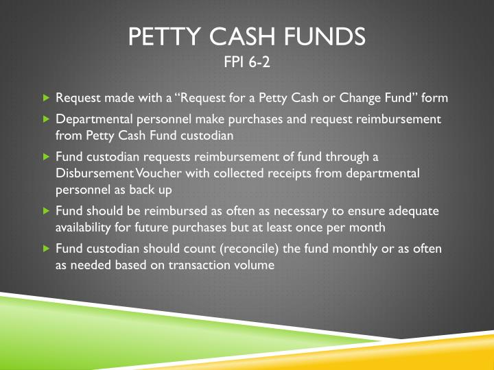 Petty Cash Funds