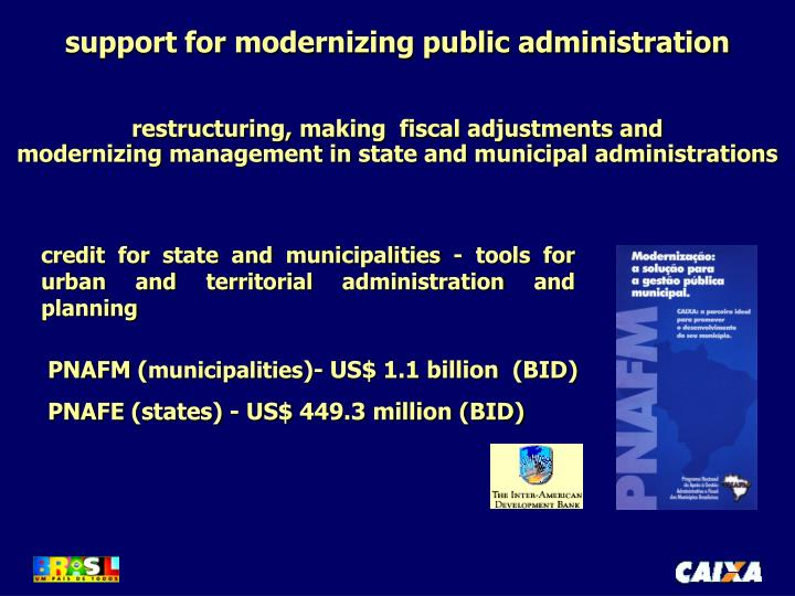 support for modernizing public administration