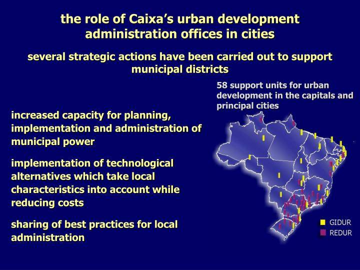 the role of Caixa's urban development administration offices in cities