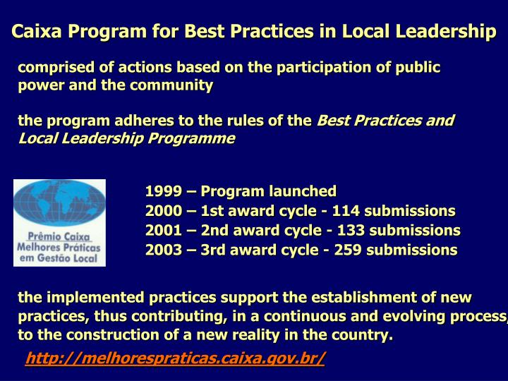 Caixa Program for Best Practices in Local Leadership
