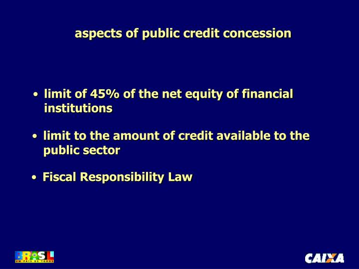 aspects of public credit concession
