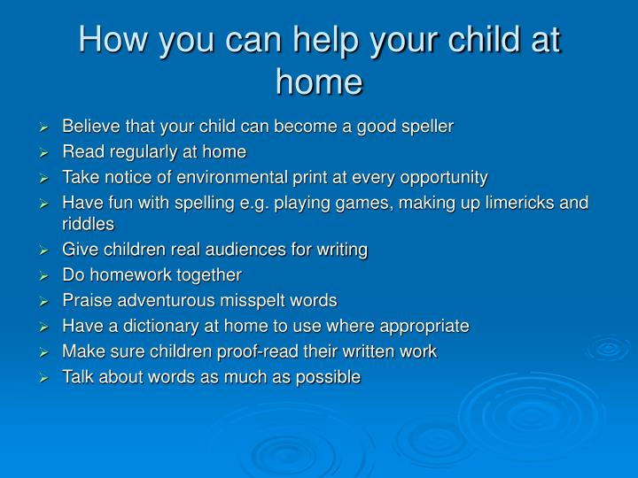 How you can help your child at home