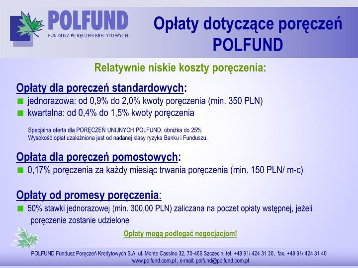 Opłaty dotyczące poręczeń POLFUND