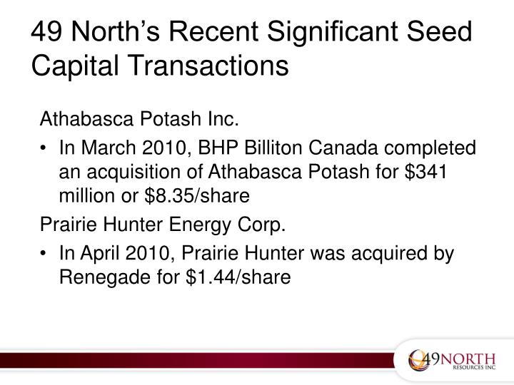 49 North's Recent Significant Seed Capital Transactions