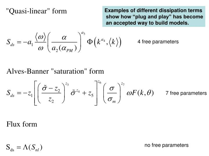 Examples of different dissipation terms