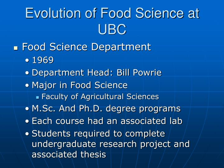 Evolution of Food Science at UBC