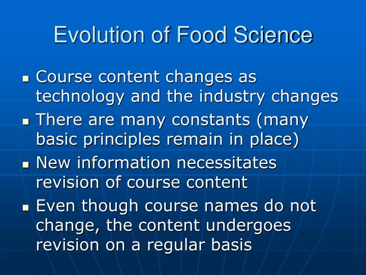 Evolution of Food Science