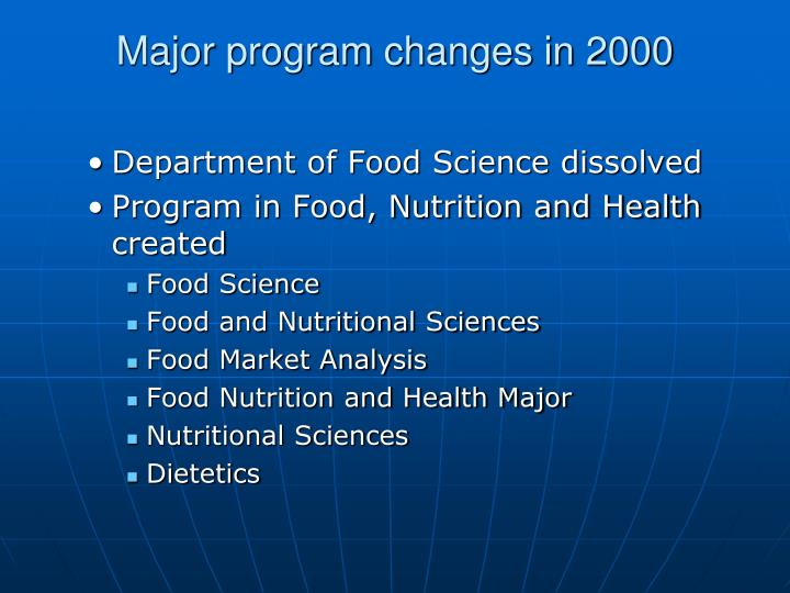 Major program changes in 2000