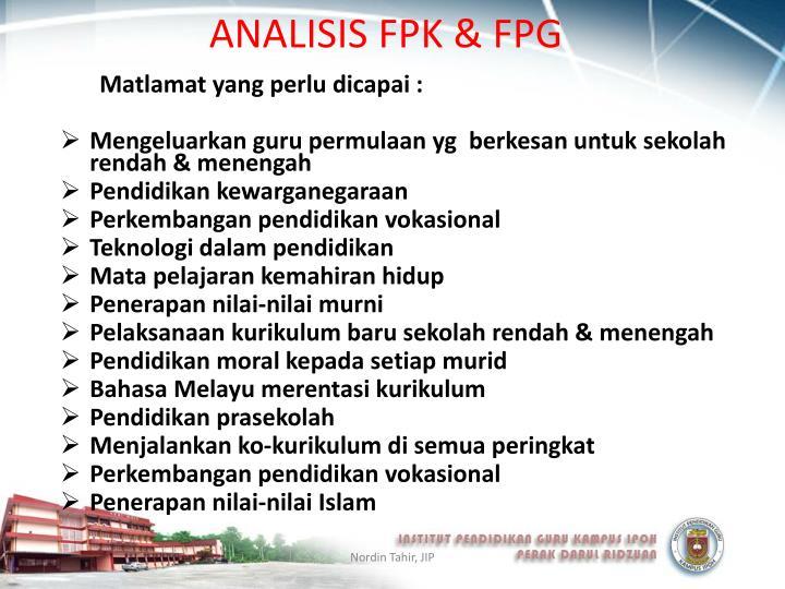 ANALISIS FPK & FPG