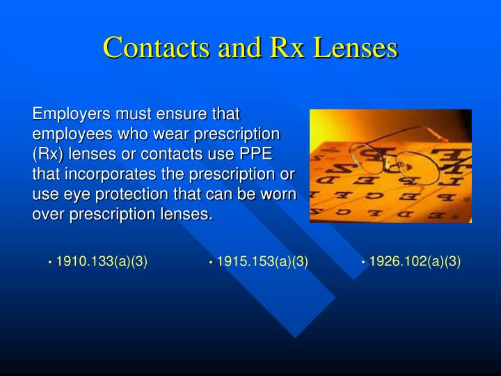 Contacts and Rx Lenses