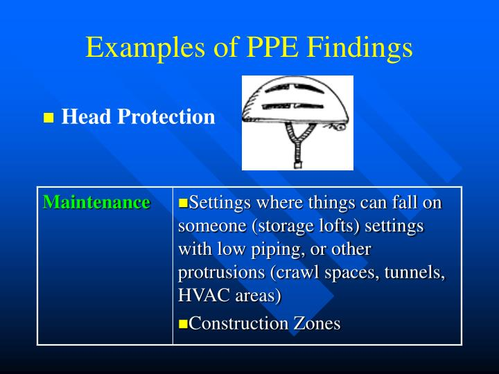 Examples of PPE Findings