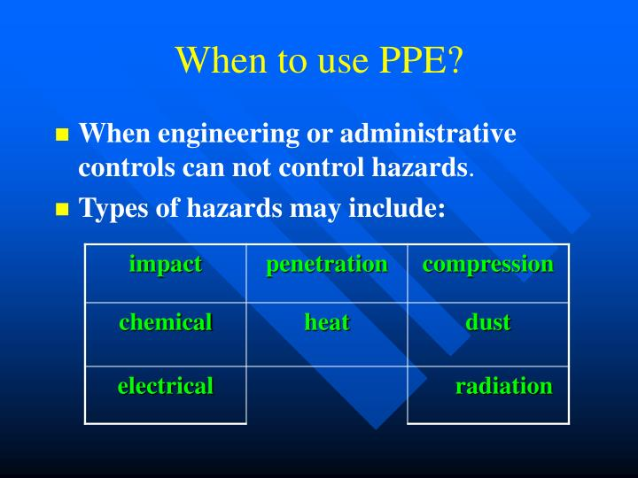 When to use PPE?