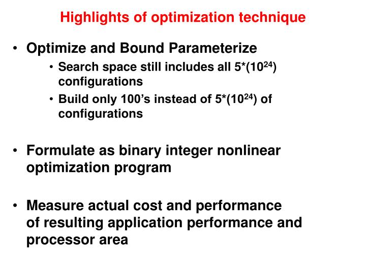 Highlights of optimization technique