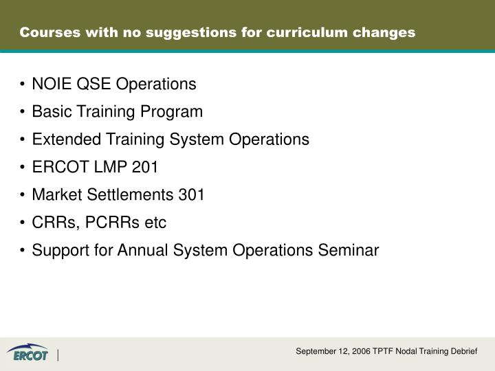 Courses with no suggestions for curriculum changes