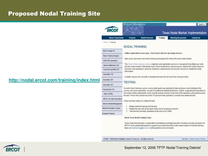 Proposed Nodal Training Site