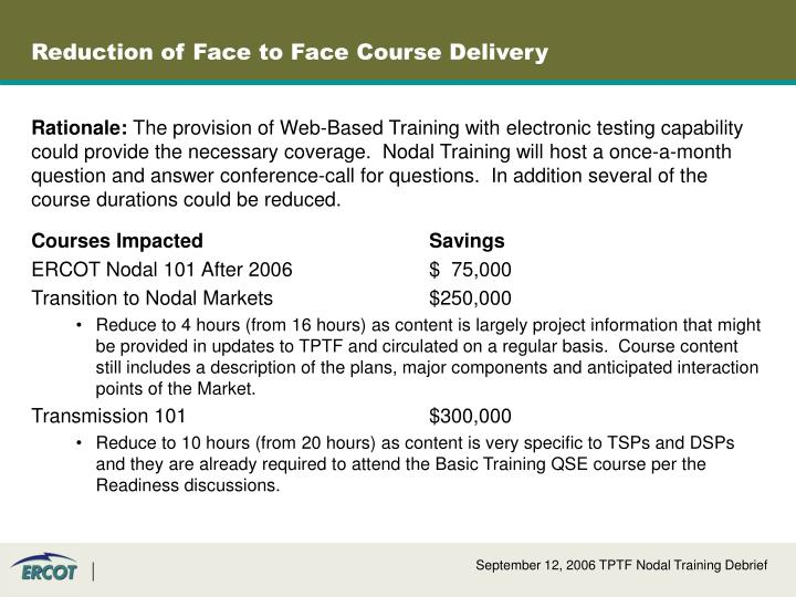 Reduction of Face to Face Course Delivery