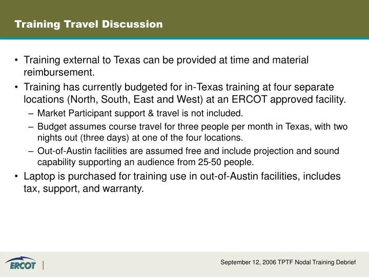 Training Travel Discussion