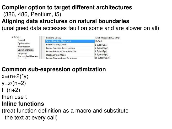 Compiler option to target different architectures