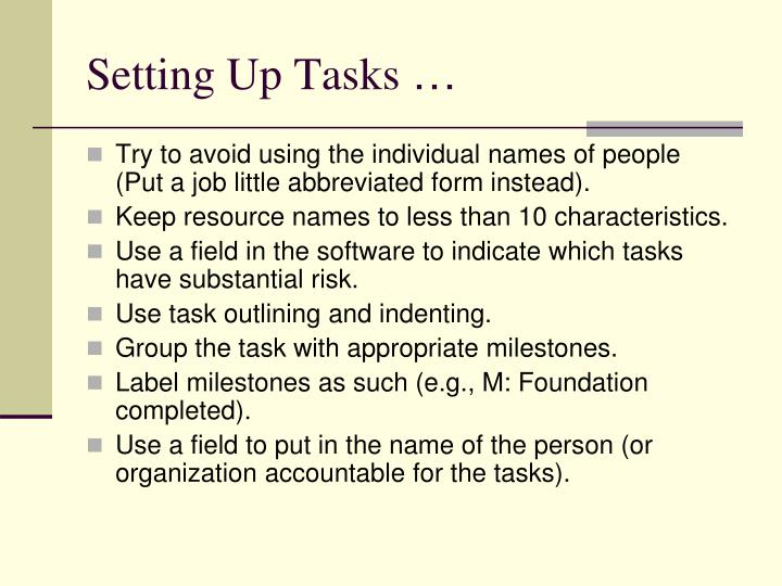 Setting Up Tasks