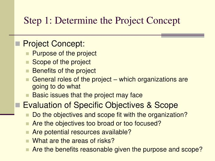Step 1: Determine the Project Concept