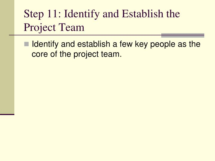 Step 11: Identify and Establish the Project Team
