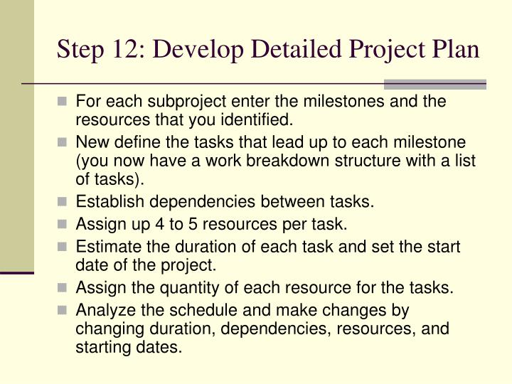Step 12: Develop Detailed Project Plan