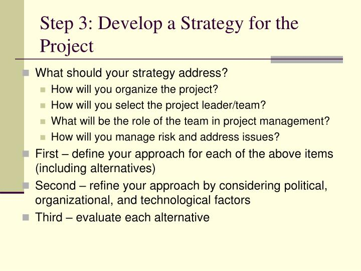Step 3: Develop a Strategy for the Project