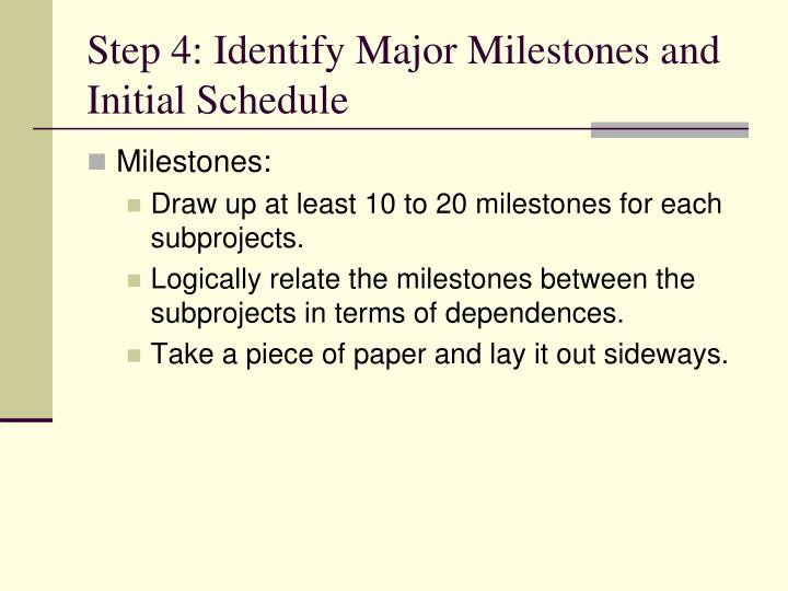 Step 4: Identify Major Milestones and Initial Schedule