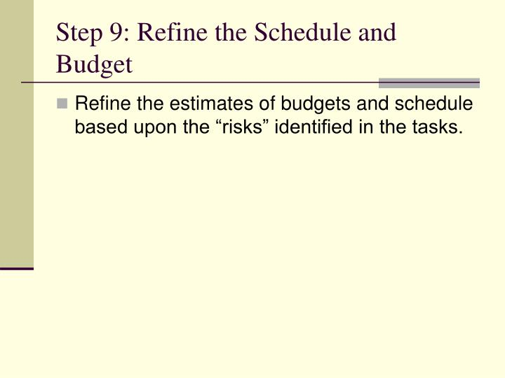 Step 9: Refine the Schedule and Budget