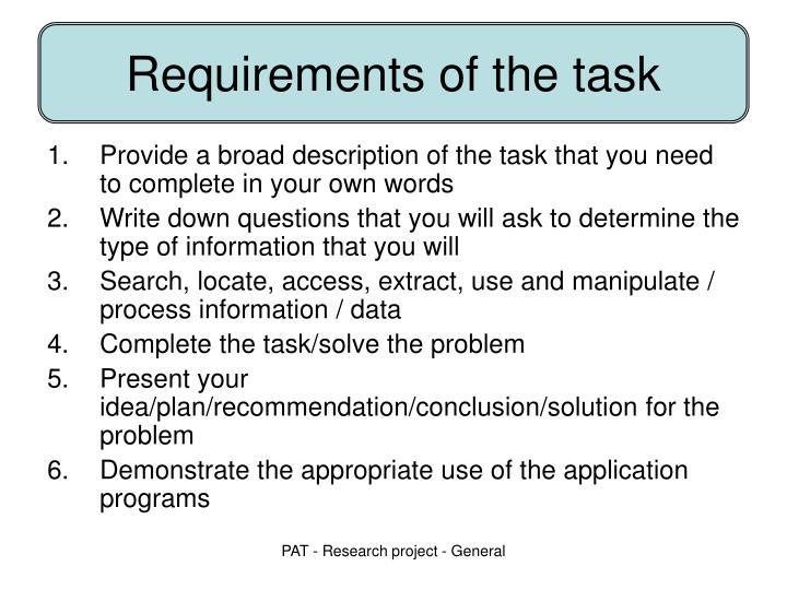 Requirements of the task