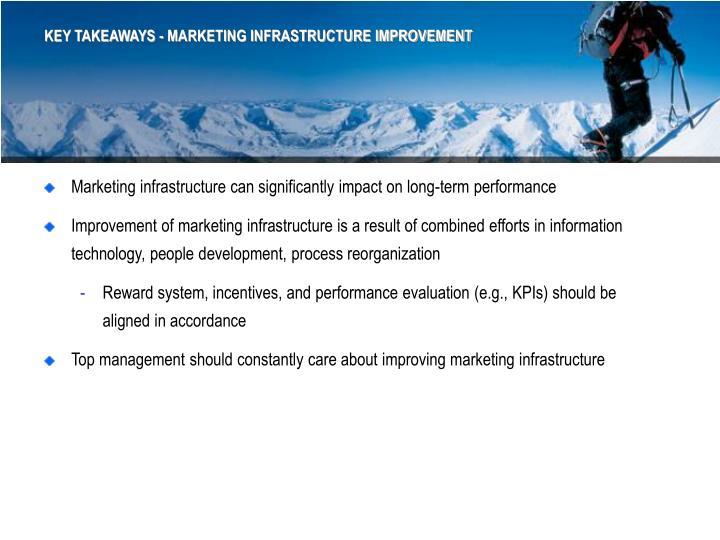 KEY TAKEAWAYS - MARKETING INFRASTRUCTURE IMPROVEMENT