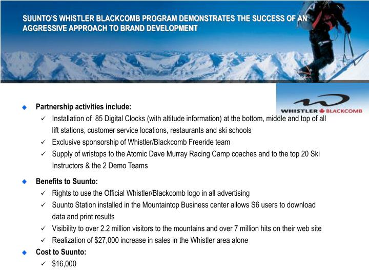 SUUNTO'S WHISTLER BLACKCOMB PROGRAM DEMONSTRATES THE SUCCESS OF AN AGGRESSIVE APPROACH TO BRAND DEVELOPMENT