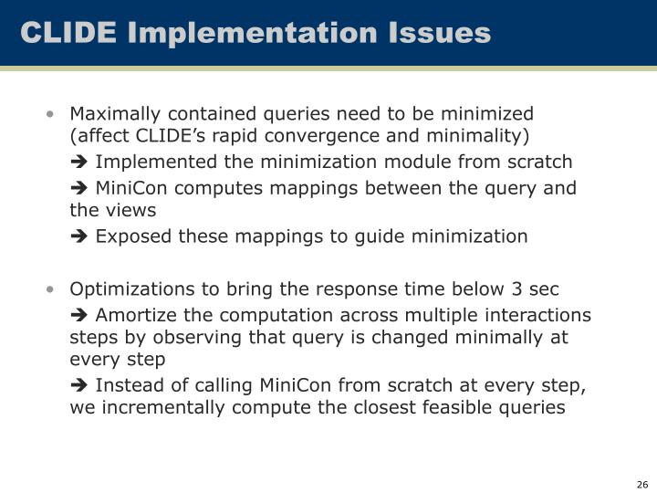 CLIDE Implementation Issues