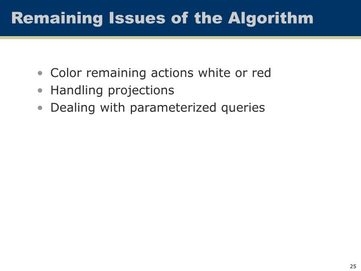 Remaining Issues of the Algorithm