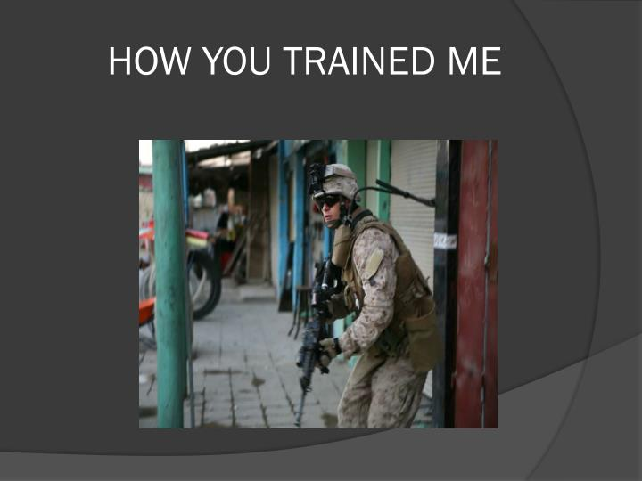 HOW YOU TRAINED ME