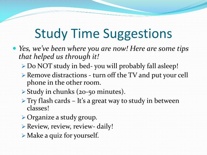 Study Time Suggestions