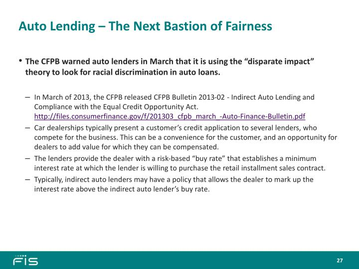 Auto Lending – The Next Bastion of Fairness