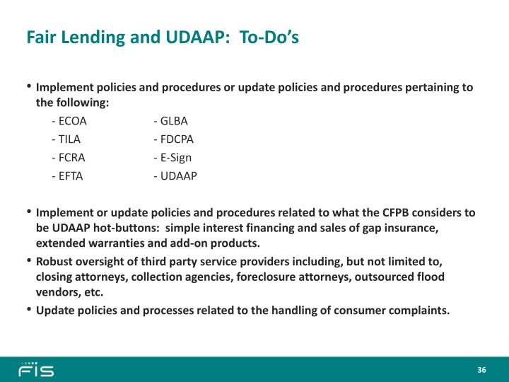 Fair Lending and UDAAP:  To-Do's