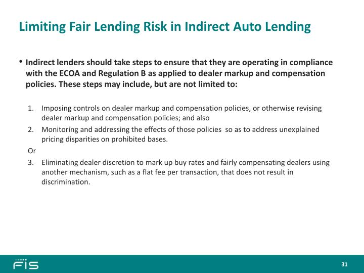 Limiting Fair Lending Risk in Indirect Auto Lending