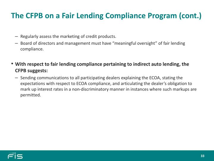 The CFPB on a Fair Lending Compliance Program (cont.)