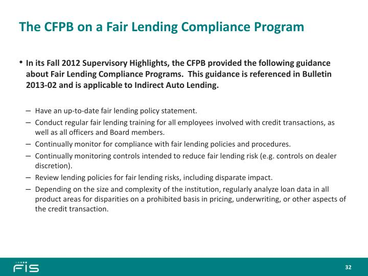 The CFPB on a Fair Lending Compliance Program
