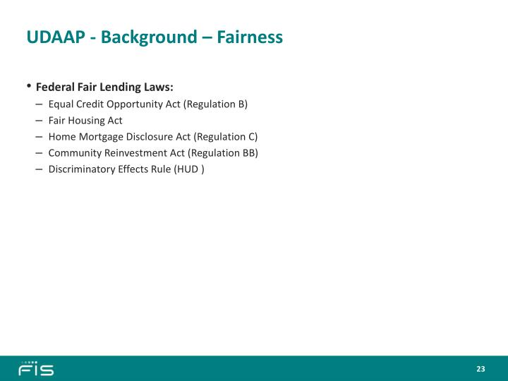 UDAAP - Background – Fairness