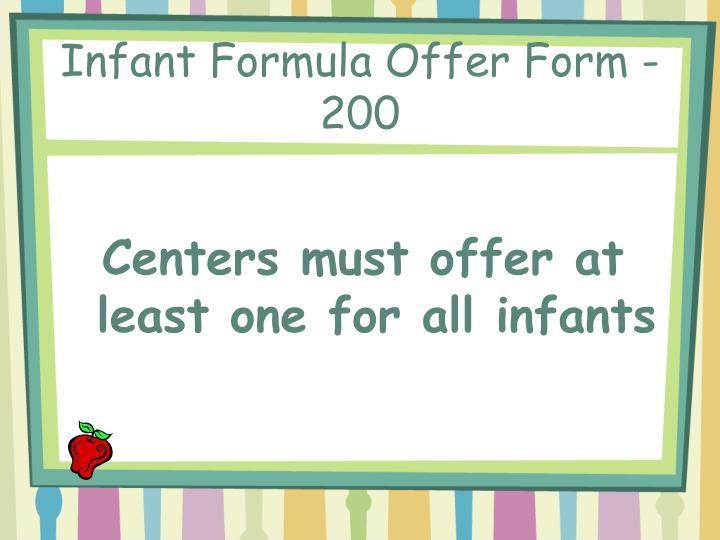 Infant Formula Offer Form - 200