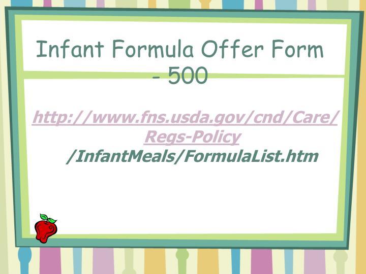 Infant Formula Offer Form - 500