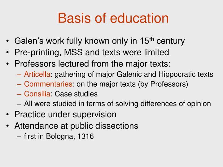 Basis of education