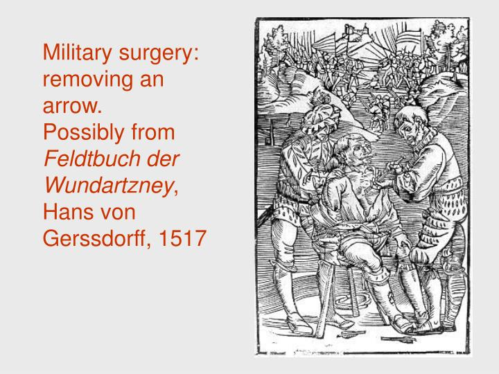 Military surgery: removing an arrow.